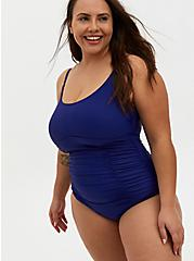 Navy & White Wireless Twist Ladder Back One-Piece Swimsuit, BLUE, hi-res