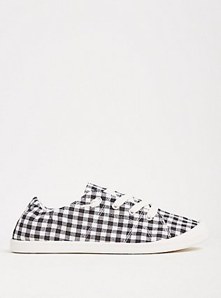 Black & White Gingham Ruched Sneaker (WW), BLACK, alternate