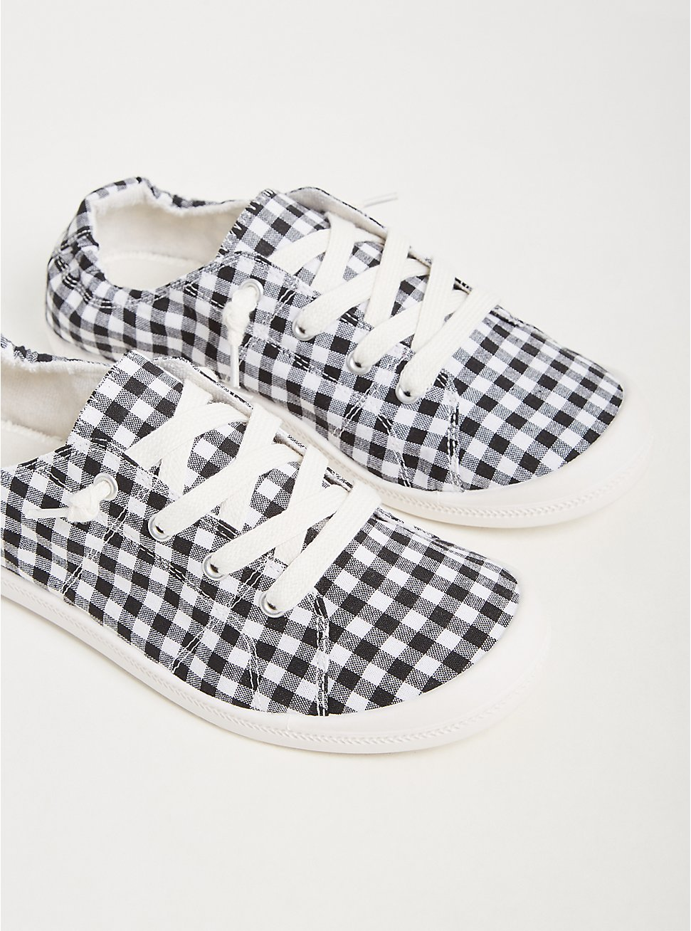 Riley - Black & White Gingham Ruched Sneaker (WW), BLACK, hi-res