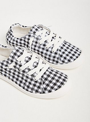 Black & White Gingham Ruched Sneaker (WW), BLACK, hi-res