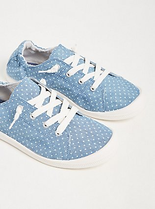 Blue Chambray Polka Dot Ruched Sneaker (WW), CHAMBRAY, alternate