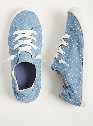 Blue Chambray Polka Dot Ruched Sneaker (WW), CHAMBRAY, hi-res