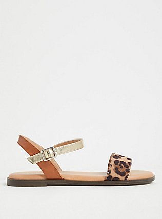 Leopard Faux Suede Ankle Strap Sandal (WW), ANIMAL, alternate