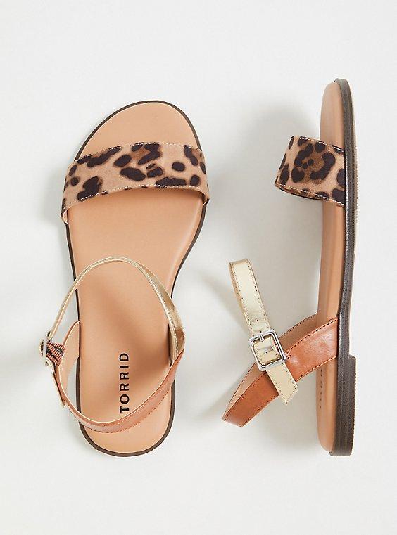 Leopard Faux Suede Ankle Strap Sandal (WW), , hi-res