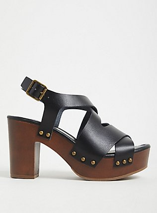 Black Faux Leather Wooden Platform Heel (WW), BLACK, hi-res