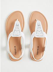 Plus Size White Embellished Stretch Slingback Sandal (WW), WHITE, alternate
