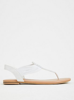 White Embellished Stretch Slingback Sandal (WW), WHITE, alternate