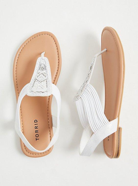 Plus Size White Embellished Stretch Slingback Sandal (WW), , hi-res