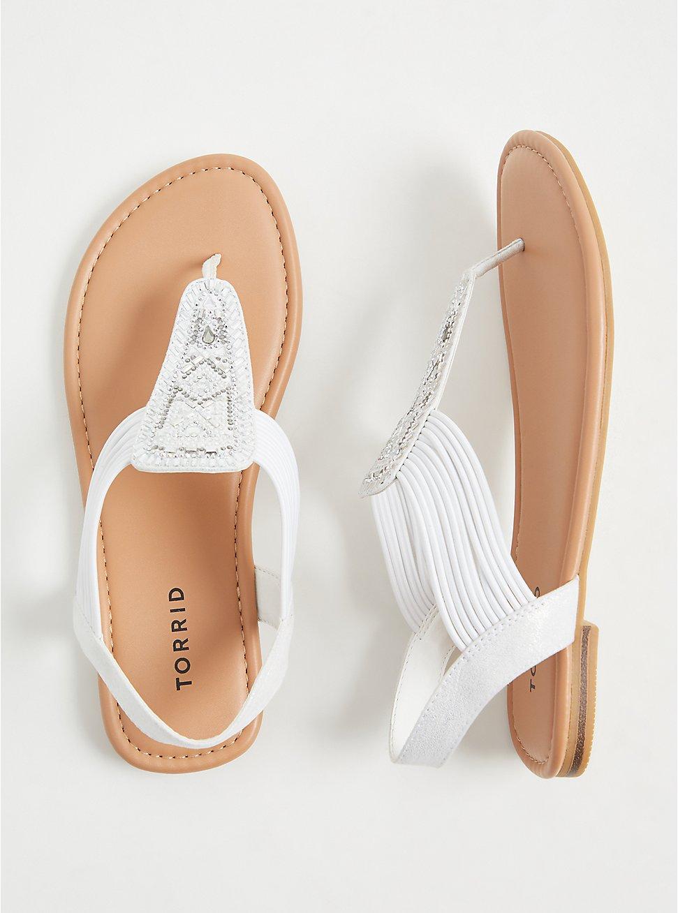Plus Size White Embellished Stretch Slingback Sandal (WW), WHITE, hi-res