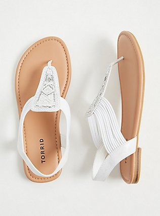 White Embellished Stretch Slingback Sandal (WW), WHITE, hi-res