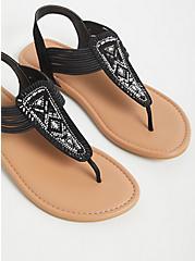 Black Faux Leather Embellished Slingback Sandal (WW), BLACK, alternate