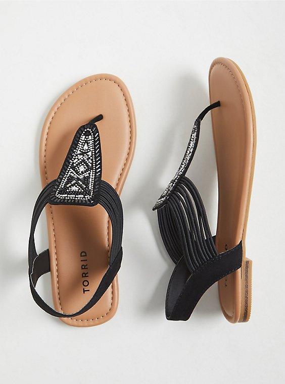 Black Faux Leather Embellished Slingback Sandal (WW), , hi-res