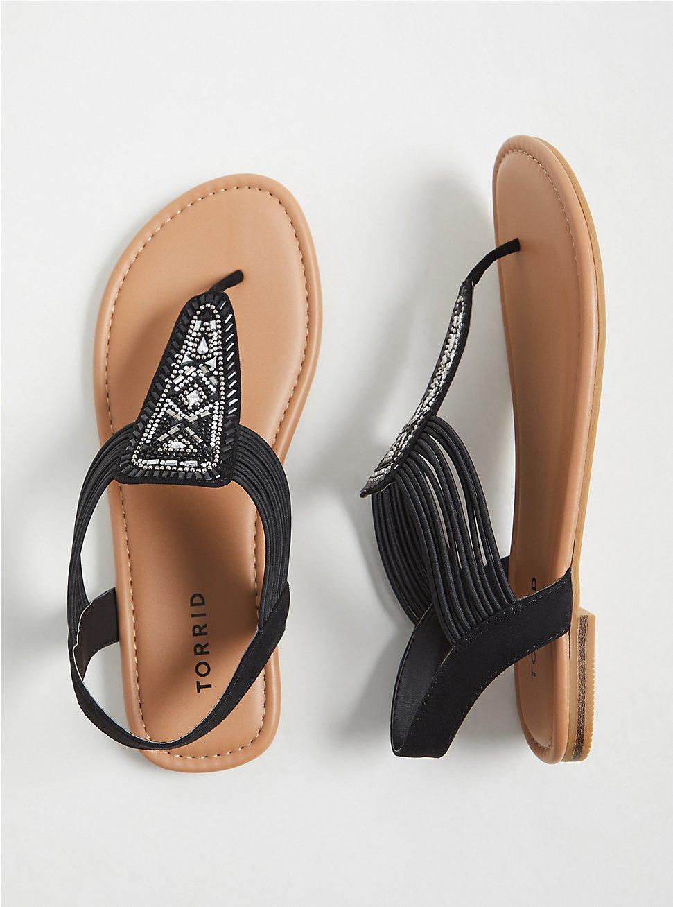 Black Faux Leather Embellished Slingback Sandal (WW), BLACK, hi-res