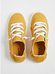 Mustard Yellow Ruched Sneaker (WW), YELLOW, alternate