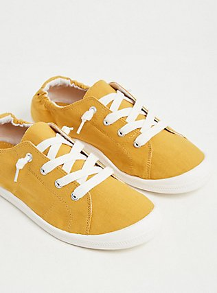 Plus Size Mustard Yellow Ruched Sneaker (WW), YELLOW, alternate