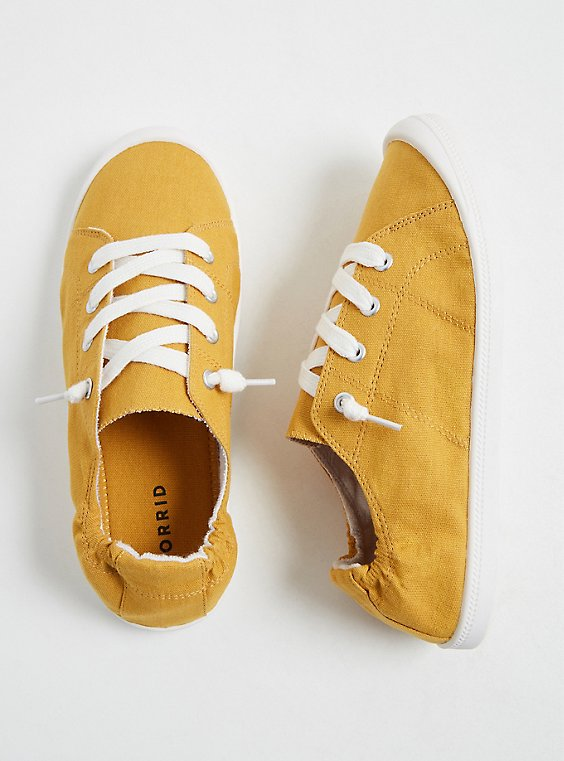 Mustard Yellow Ruched Sneaker (WW), , hi-res