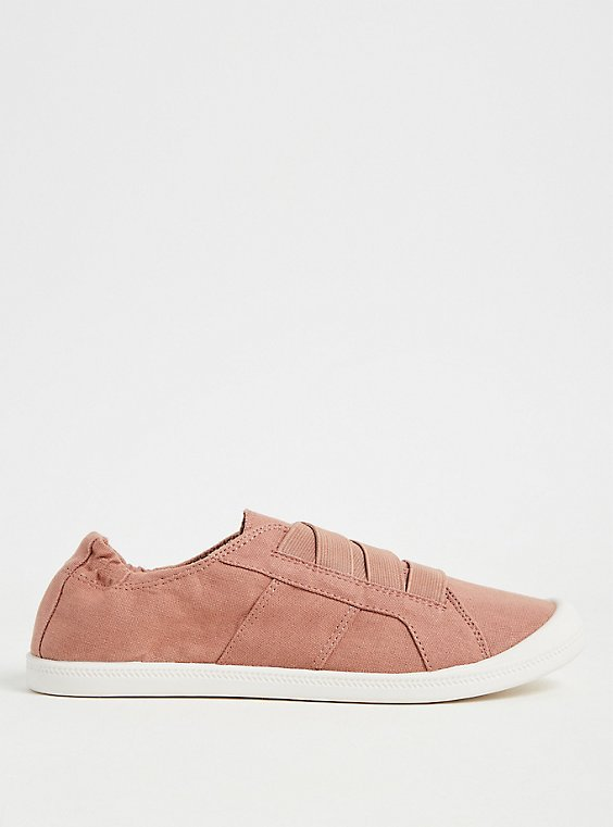Dusty Pink Stretch Lace Ruched Sneaker (WW), , hi-res