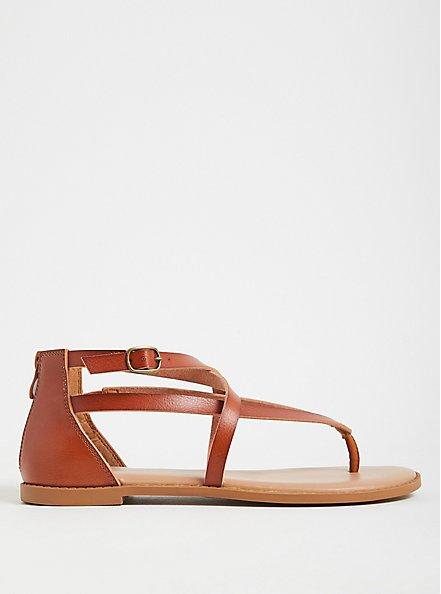 Cognac Faux Leather Crisscross Gladiator Sandal (WW), COGNAC, alternate