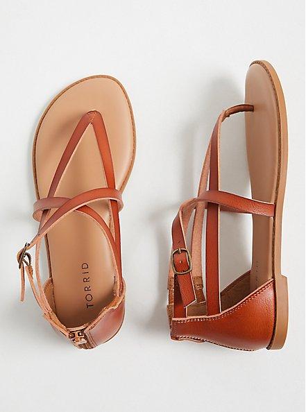 Cognac Faux Leather Crisscross Gladiator Sandal (WW), COGNAC, hi-res