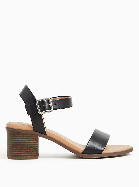Black Faux Leather Ankle Strap Block Heel (WW), , hi-res