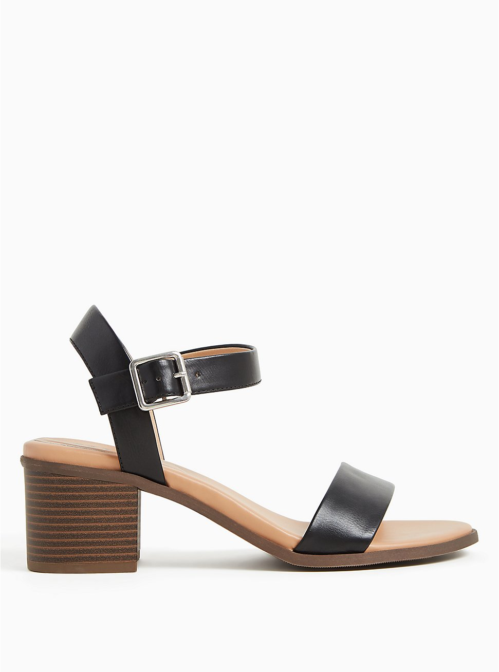 Black Faux Leather Ankle Strap Block Heel (WW), BLACK, hi-res