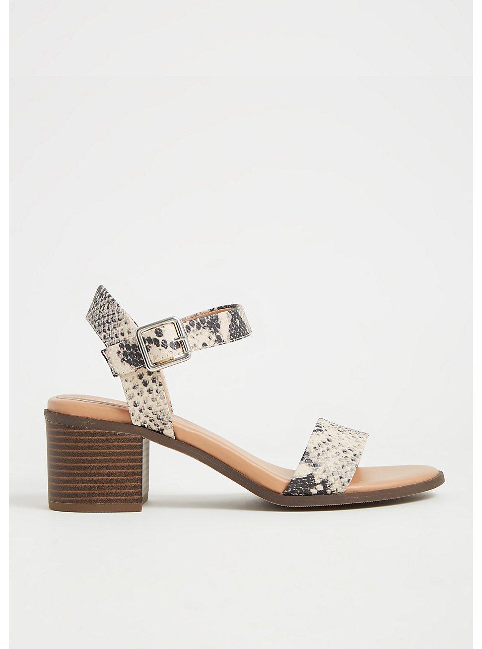 Plus Size Snakeskin Print Faux Leather Ankle Strap Heel (WW), ANIMAL, hi-res