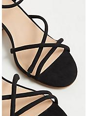 Black Faux Suede Strappy Woodgrain Block Heel (WW), BLACK, alternate