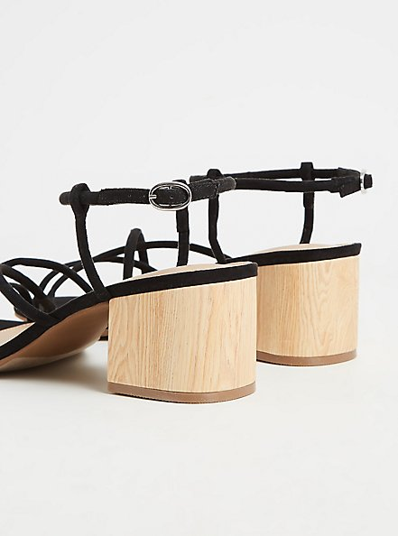 Black Faux Suede Strappy Woodgrain Block Heel (WW), BLACK, alternate