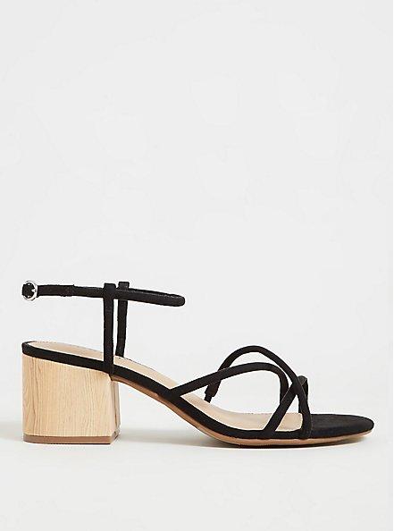 Black Faux Suede Strappy Woodgrain Block Heel (WW), BLACK, hi-res