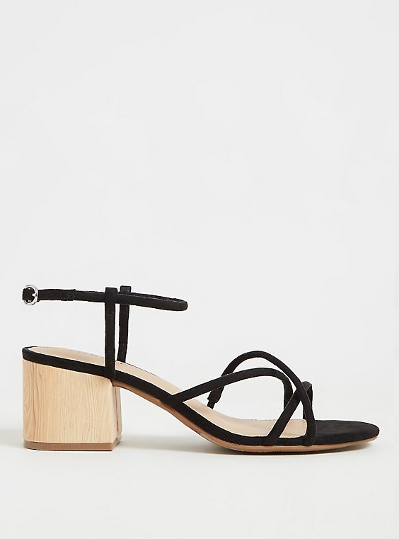 Black Faux Suede Strappy Woodgrain Block Heel (WW), , hi-res