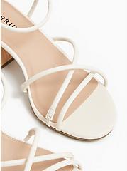 Ivory Faux Leather Strappy Woodgrain Block Heel (WW), , alternate