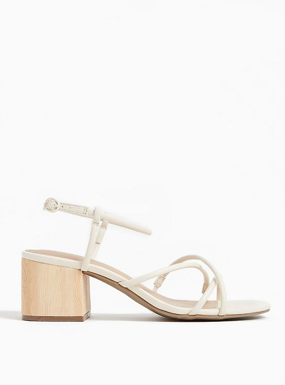 Plus Size Ivory Faux Leather Strappy Woodgrain Block Heel (WW), , hi-res