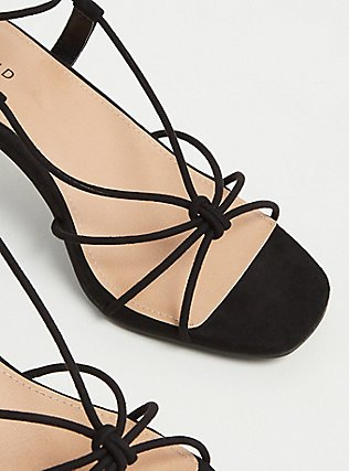 Black Faux Suede Lace Up Kitten Heel (WW), BLACK, alternate