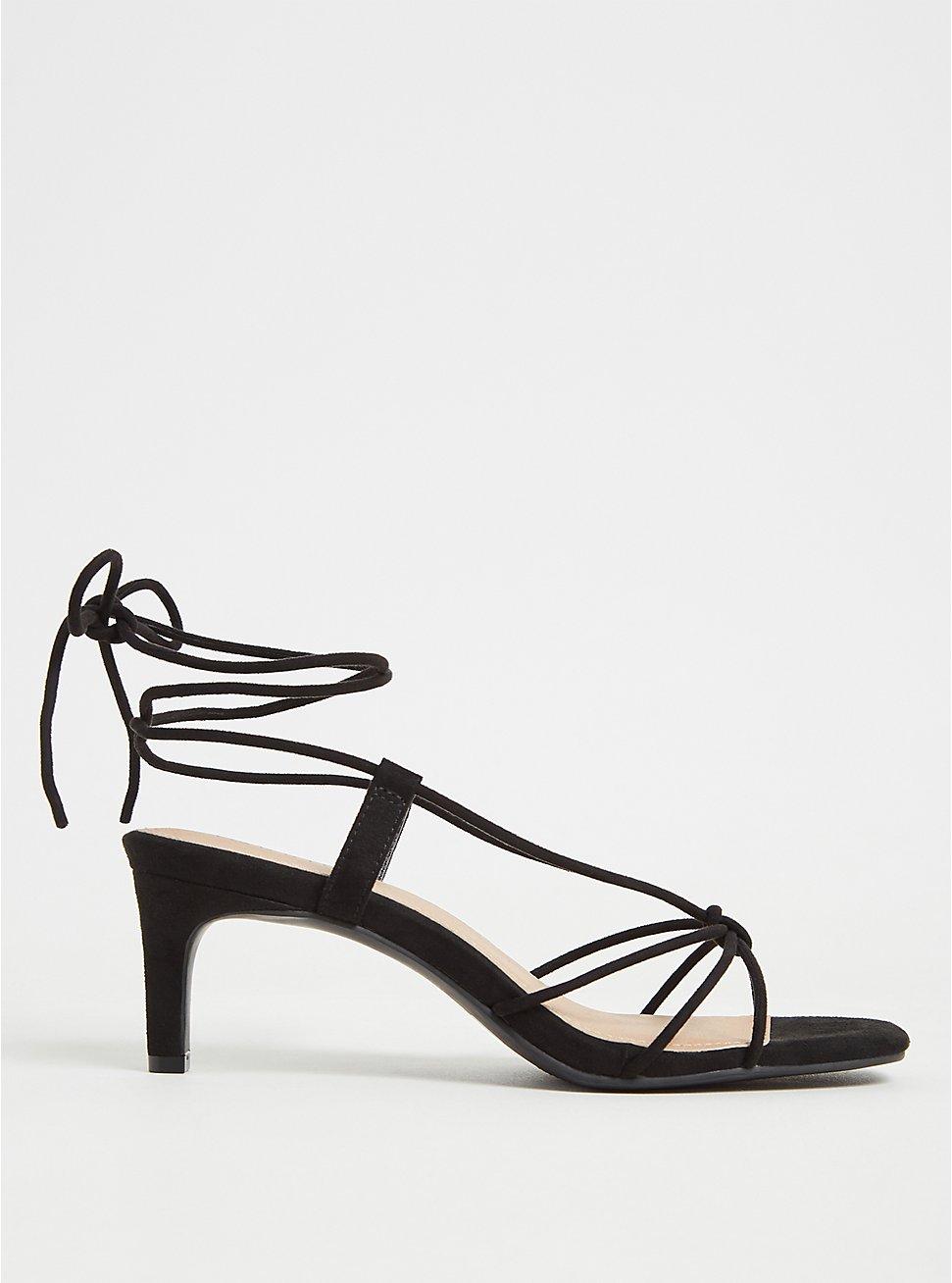 Black Faux Suede Lace Up Kitten Heel (WW), BLACK, hi-res