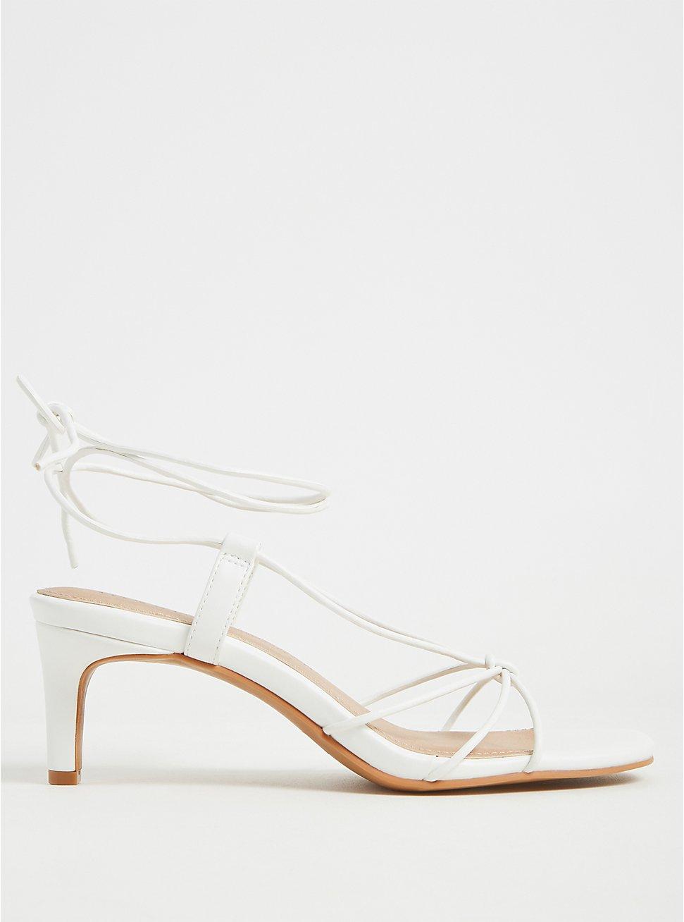 White Faux Leather Ankle Wrap Kitten Heel (WW), , hi-res