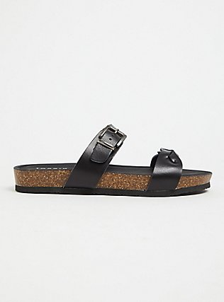 Black Faux Leather Braided Dual Strap Slide (WW), BLACK, alternate