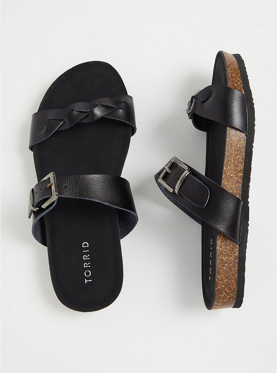 Plus Size Black Faux Leather Braided Dual Strap Slide (WW), BLACK, hi-res