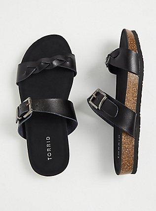 Black Faux Leather Braided Dual Strap Slide (WW), BLACK, hi-res