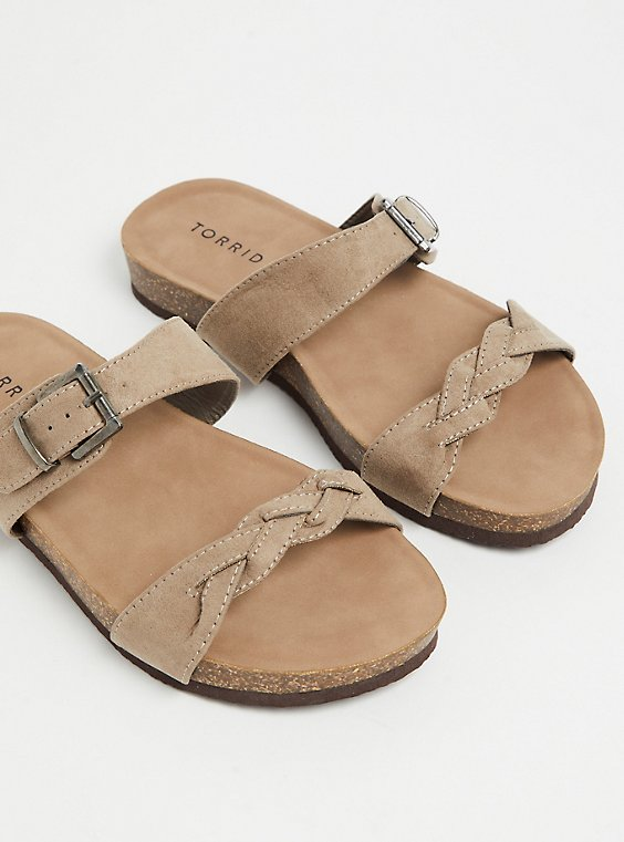 Taupe Faux Suede Braided Dual Strap Slide (WW), , hi-res