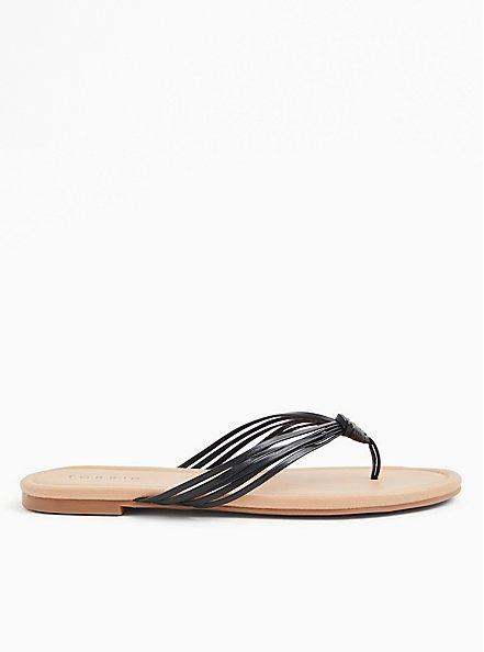 Black Faux Leather Strappy Braided Sandal (WW), BLACK, alternate