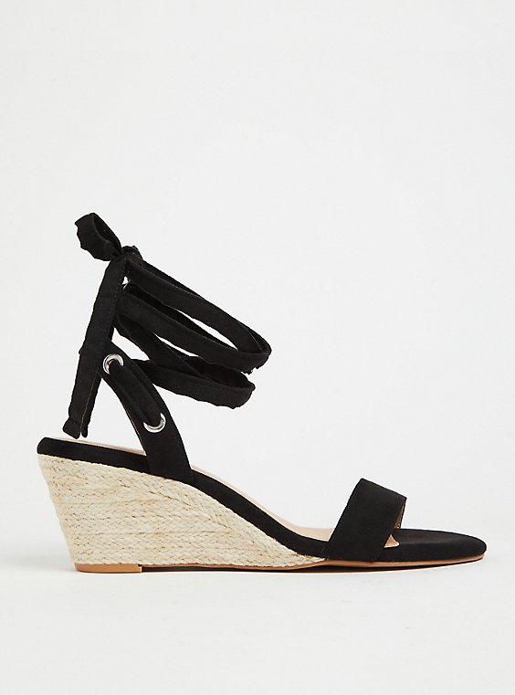 Black Faux Suede Ankle Wrap Espadrille Demi Wedge (WW), , hi-res