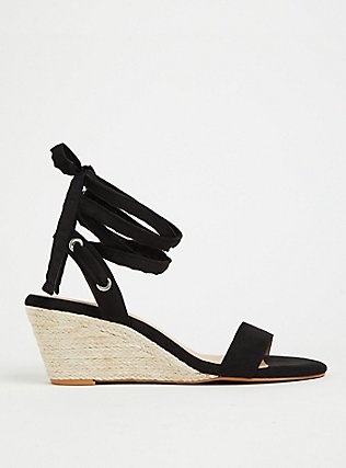 Black Faux Suede Ankle Wrap Espadrille Demi Wedge (WW), WHITE, hi-res
