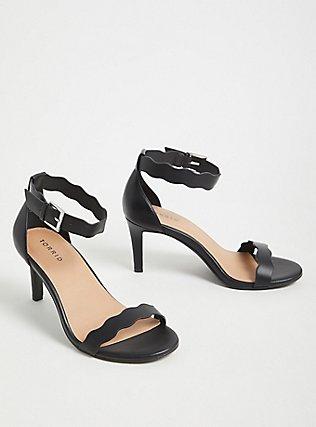 Plus Size Black Faux Leather Scallop Stiletto Heel (WW), BLACK, alternate