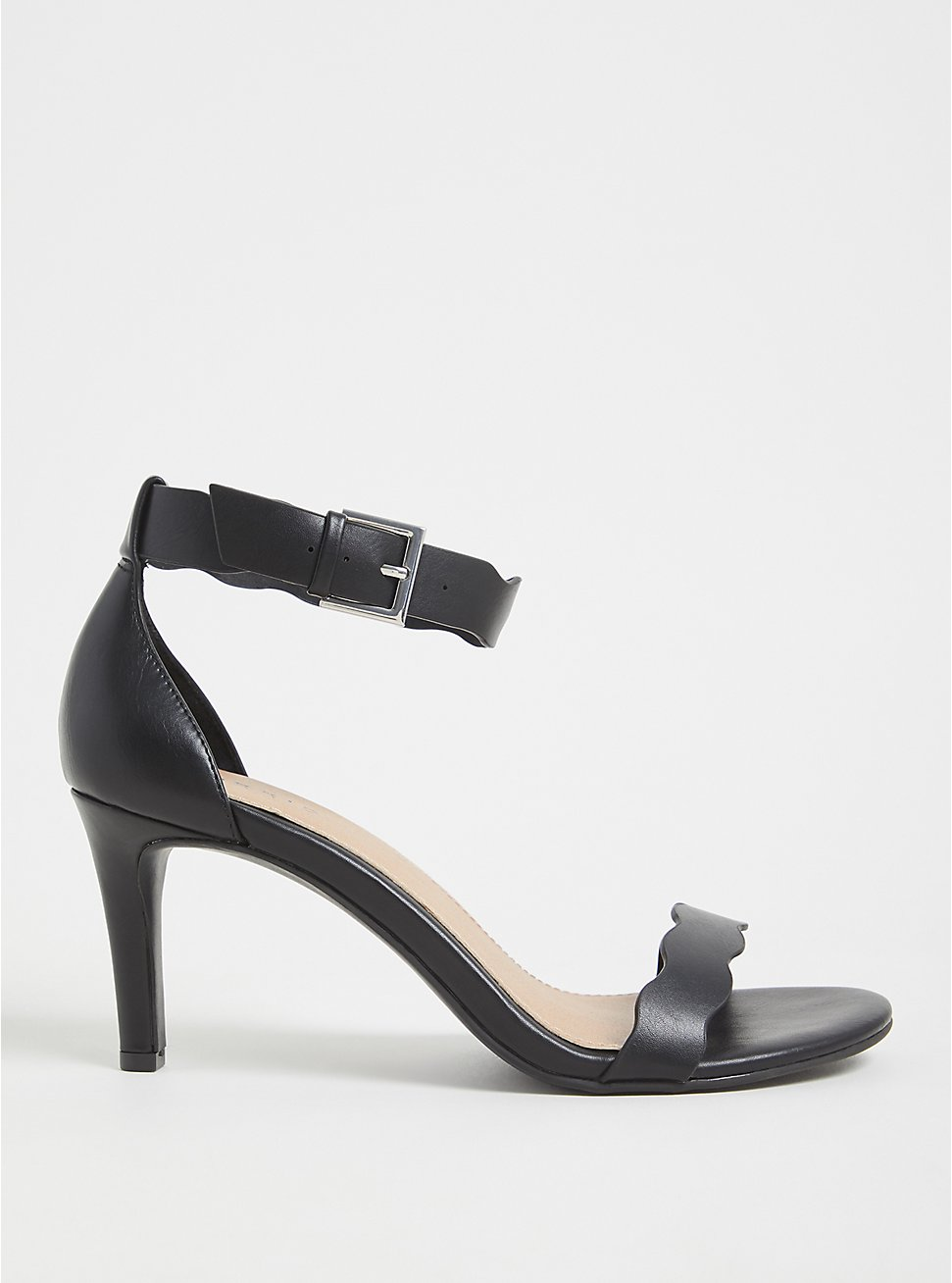 Black Faux Leather Scallop Stiletto Heel (WW), BLACK, hi-res