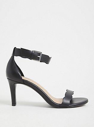 Plus Size Black Faux Leather Scallop Stiletto Heel (WW), BLACK, hi-res