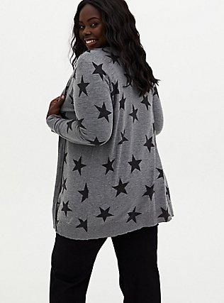 Dark Grey & Black Star Textured Slub Boyfriend Cardigan, STAR - GREY, alternate