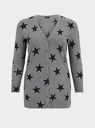 Dark Grey & Black Star Textured Slub Boyfriend Cardigan, STAR - GREY, flat