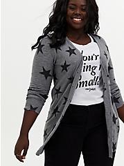 Dark Grey & Black Star Textured Slub Boyfriend Cardigan, STAR - GREY, hi-res