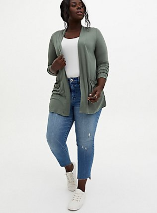 Plus Size Super Soft Light Olive Green Open Front Cardigan, AGAVE GREEN, alternate