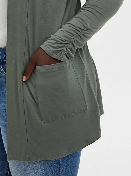 Super Soft Light Olive Green Open Front Cardigan, AGAVE GREEN, alternate